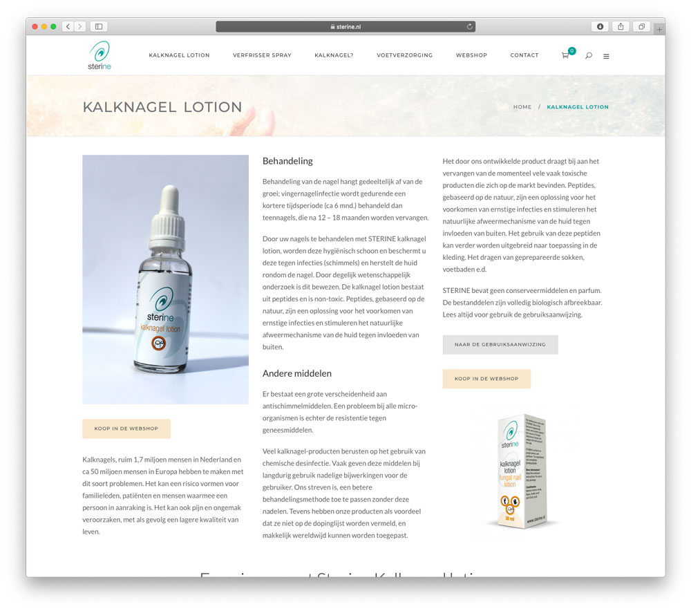 Website Sterine kalknagel lotion